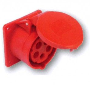 5P CEE Chassis stik 32A, Hun, 70 x 70mm i rød