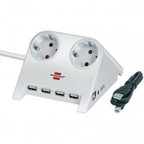 Stikdåse til bord med 2x Schuko udtag og 4x USB, forskellige farver