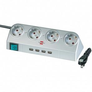 Stikdåse til bord med 4 x Schuko udtag og 4 x USB, Sølv