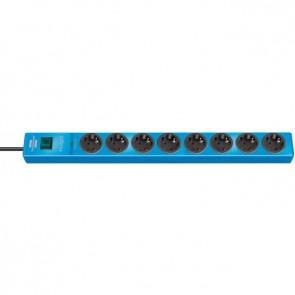 8-stikdåse Schuko Stik 2m Kabel - med overspændingsbeskyttelse, blå