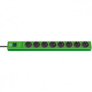8-stikdåse Schuko Stik 2m Kabel - med overspændingsbeskyttelse, grøn