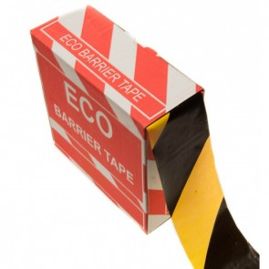 Afspærringsbånd - 75mm x 365m - Sort/Gul