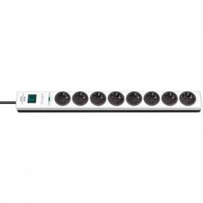 8-stikdåse Schuko Stik 2m Kabel - med overspændingsbeskyttelse, Sort/Hvid